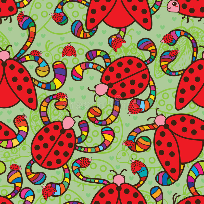 Free Ladybug Colorful Love Seamless Pattern Stock Image - 55375511