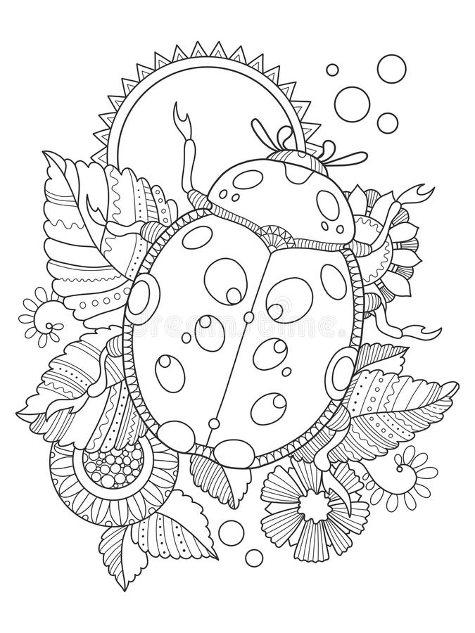 Ladybug coloring book vector illustration stock illustration