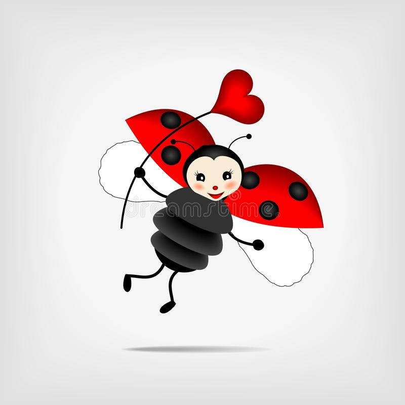 Ladybug con cuore royalty illustrazione gratis