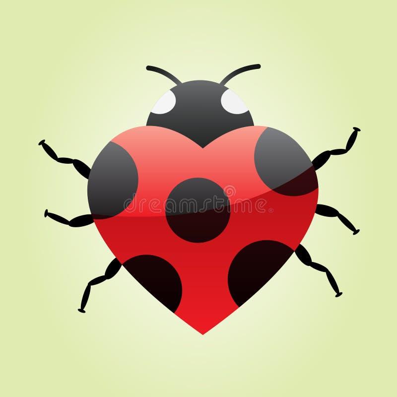 Ladybug del cuore illustrazione vettoriale