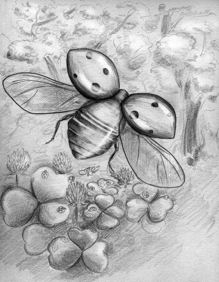 Ladybug di volo royalty illustrazione gratis