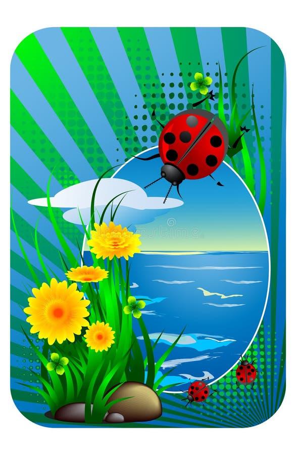 Ladybug e mare illustrazione vettoriale