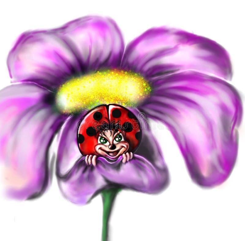 Ladybug en una flor imagen de archivo libre de regalías