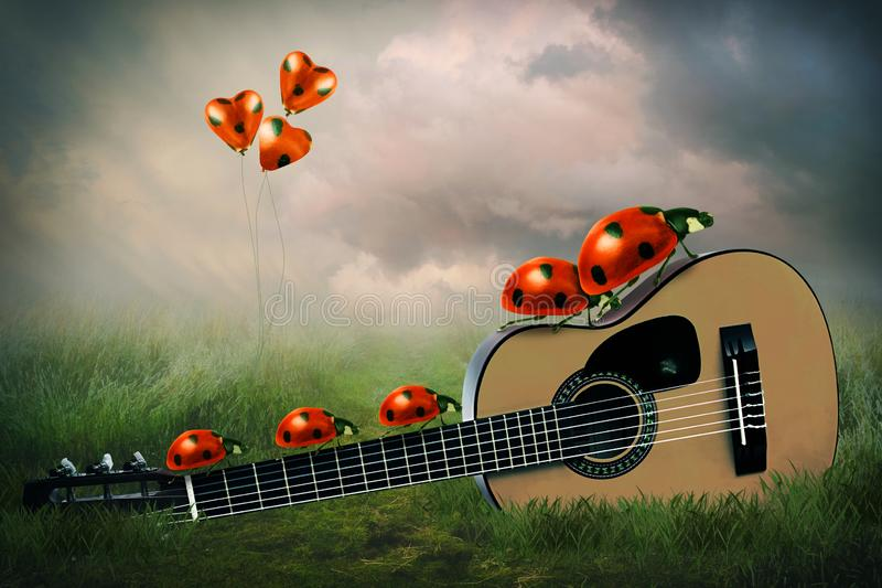 Ladybug family with heart balloons and guitar royalty free stock images