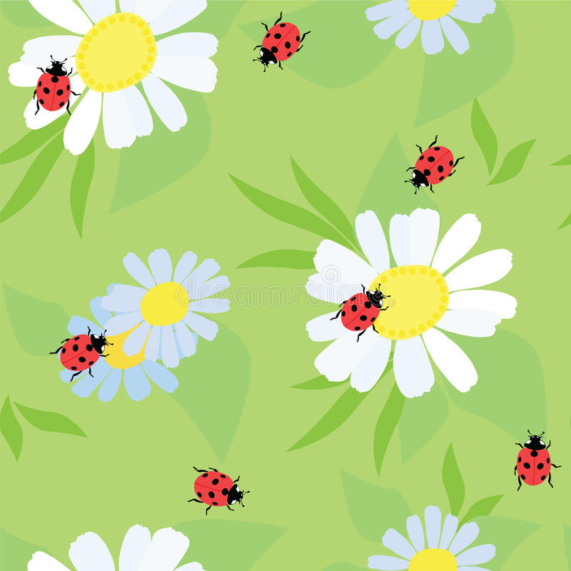 Ladybug on a flower royalty free illustration