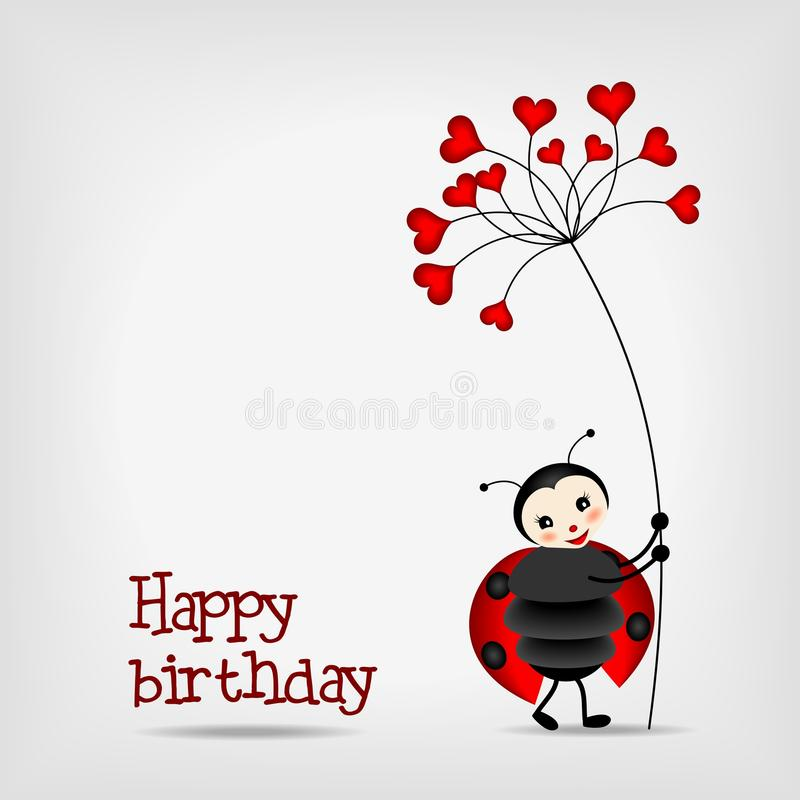 Ladybug with flower - birthday card vector illustration