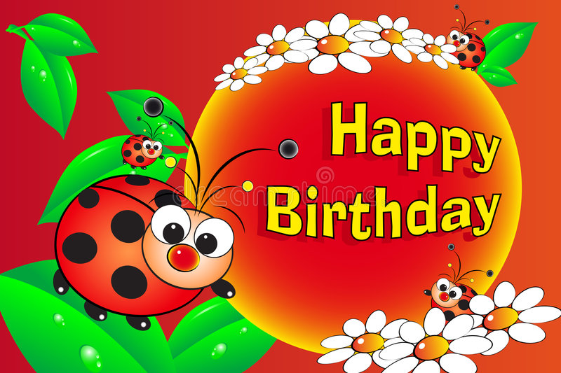 Ladybug and flowers - Birthday card vector illustration