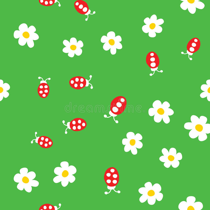 Ladybug and flowers seamless pattern. Cartoon ladybirds on grass green background. Vector illustration royalty free illustration