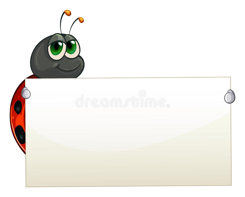 Download A Ladybug Holding An Empty Signage Royalty Free Stock Image - Image: 32676406