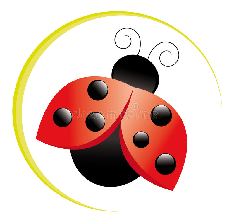 Ladybug icon. Three-dimensional ladybug icon on white background stock illustration