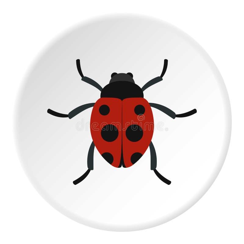 Ladybug icon circle. Ladybug icon in flat circle isolated vector illustration for web stock illustration