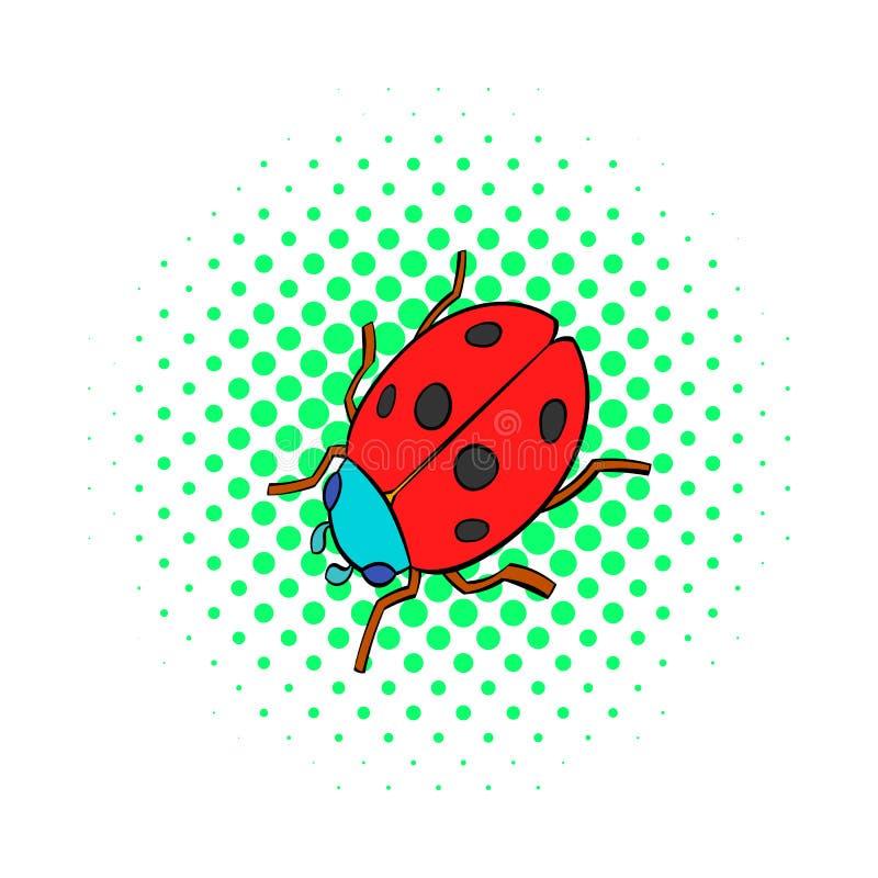 Ladybug icon, comics style. Ladybug icon in comics style on dotted background. Insects symbol royalty free illustration