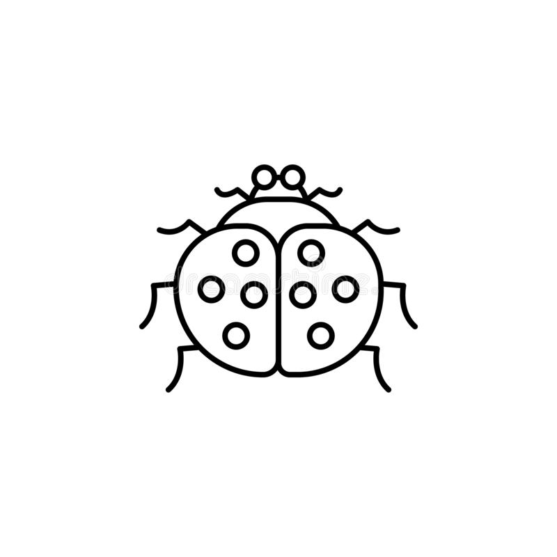 Ladybug icon. Simple thin line, outline  of autumn icons for ui and ux, website or mobile application. On white background vector illustration