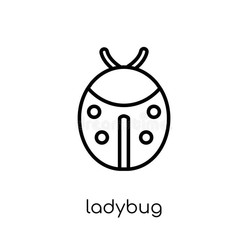 Ladybug icon. Trendy modern flat linear vector Ladybug icon on w. Hite background from thin line animals collection, editable outline stroke vector illustration stock illustration