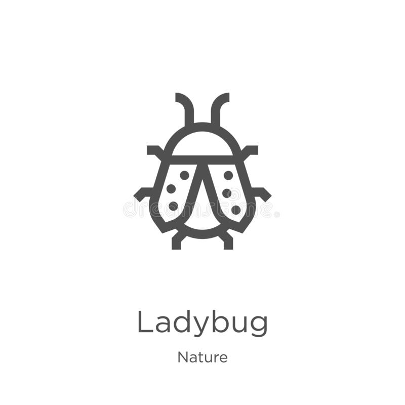 Ladybug icon vector from nature collection. Thin line ladybug outline icon vector illustration. Outline, thin line ladybug icon. Ladybug icon. Element of nature vector illustration