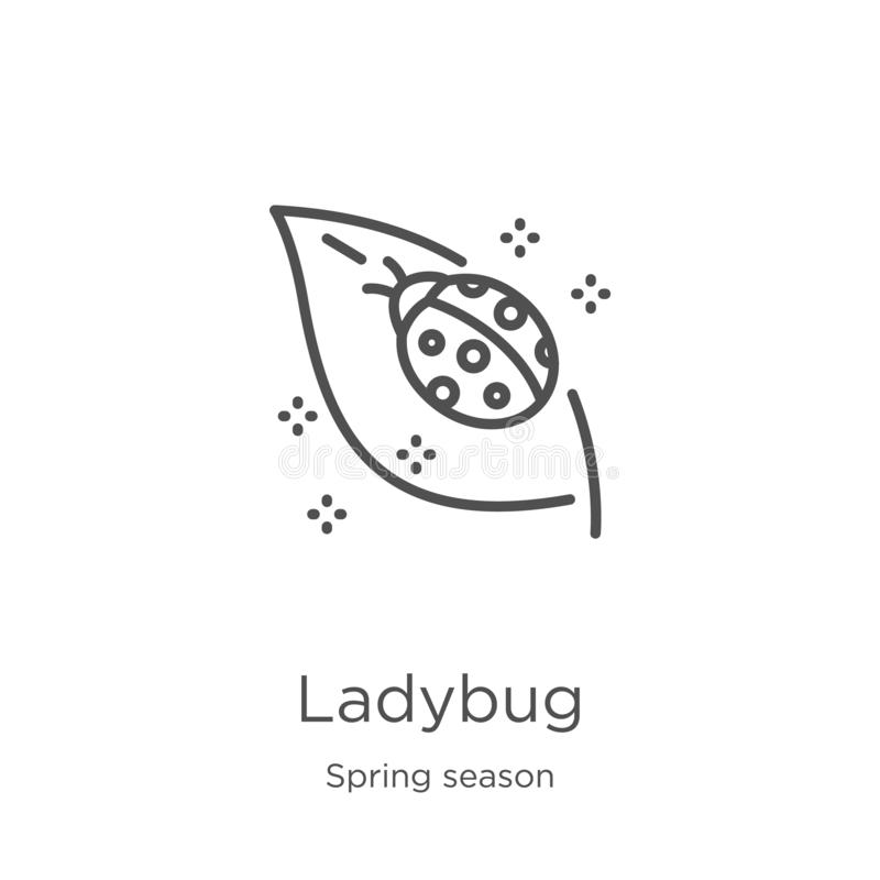 Ladybug icon vector from spring season collection. Thin line ladybug outline icon vector illustration. Outline, thin line ladybug. Ladybug icon. Element of vector illustration