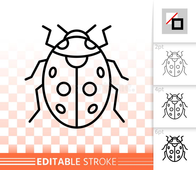 Ladybug insect simple black line vector icon. Ladybug thin line icon. Outline web sign of ladybird. Bug linear pictogram with different stroke width. Simple vector illustration
