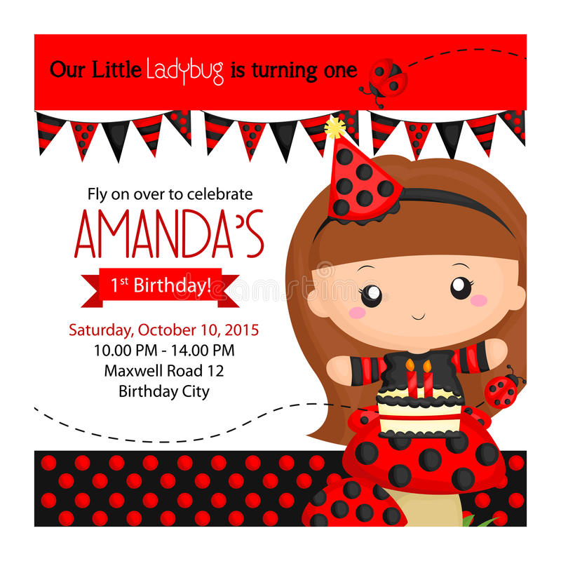 Ladybug Invitation royalty free illustration