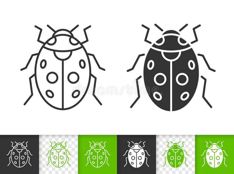 Ladybug ladybird bug simple black line vector icon. Ladybug black linear and silhouette icons. Thin line sign of ladybird. Bug outline pictogram isolated on stock illustration