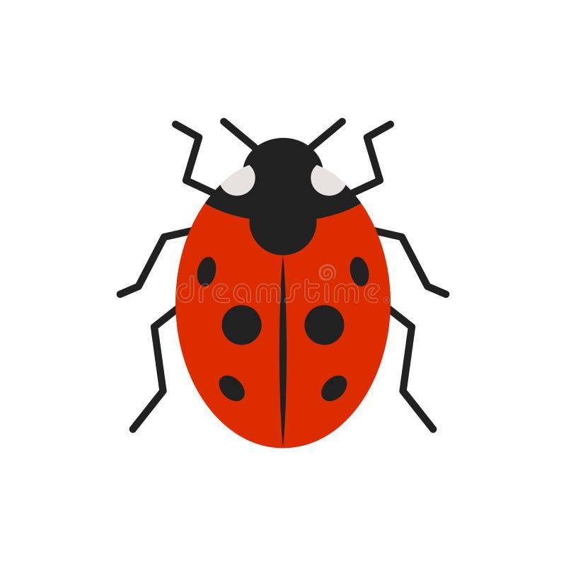 Ladybug ladybird bug single flat color vector icon. Ladybug single flat icon. Ladybird simple sign in cartoon style. Bug pictogram symbol. Wildlife Insect vector illustration