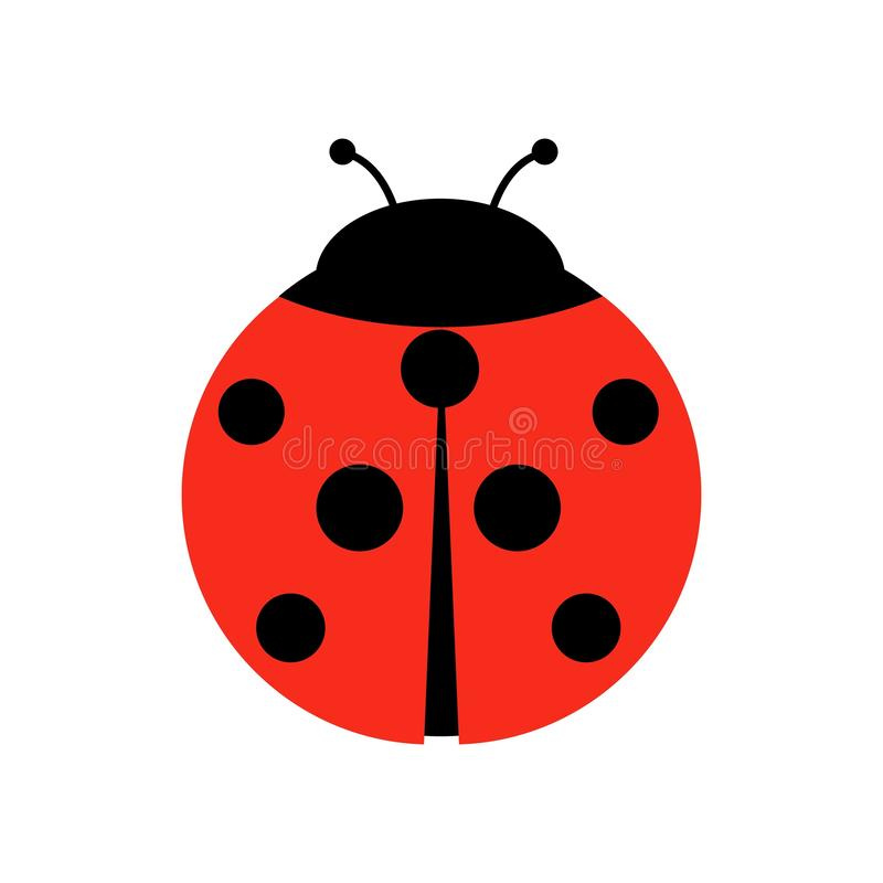 Ladybug or ladybird vector graphic illustration, isolated. Cute simple flat design of black and red lady beetle vector illustration