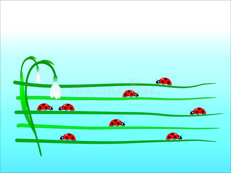 Ladybug march - cdr format stock photo