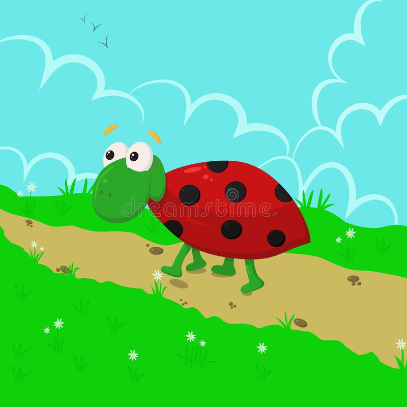 Ladybug in the meadow - vector illustration, eps stock illustration