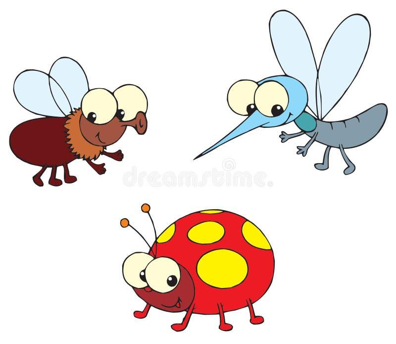 Ladybug, mosca e zanzara royalty illustrazione gratis