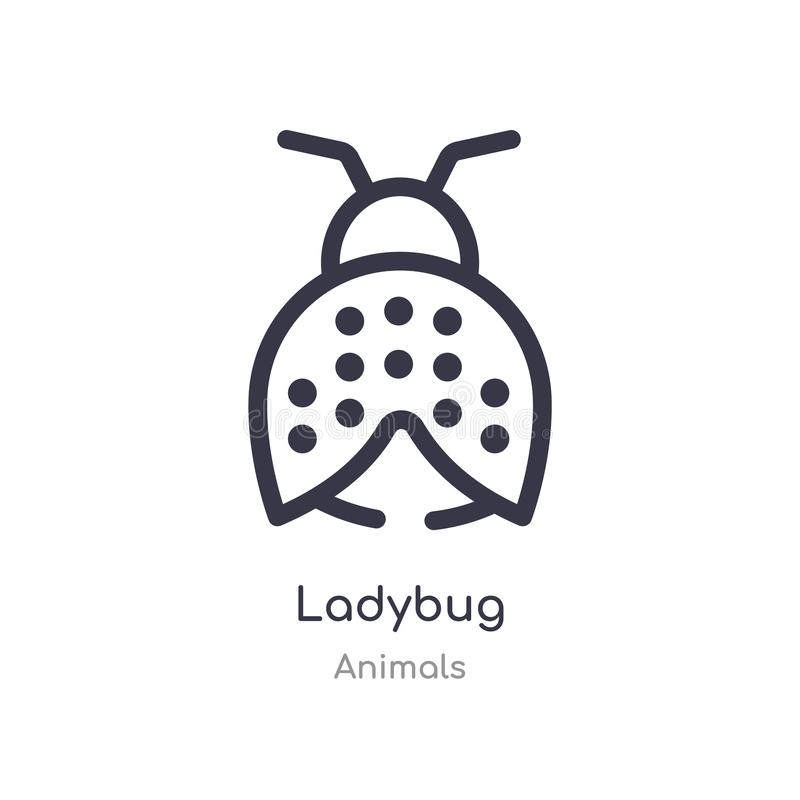 ladybug outline icon. isolated line vector illustration from animals collection. editable thin stroke ladybug icon on white royalty free illustration