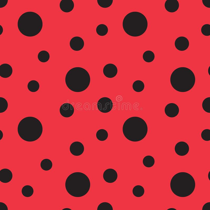 Ladybug pattern. Seamless vector. Seamless with red background and black spots vector illustration