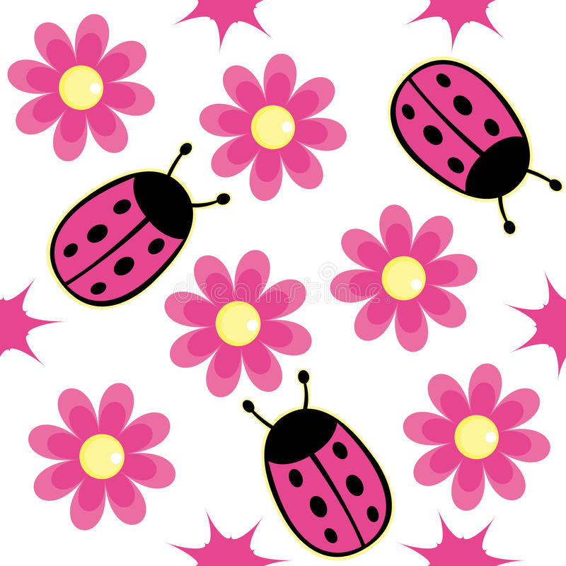 ladybug and pink daisy stock vector illustration of