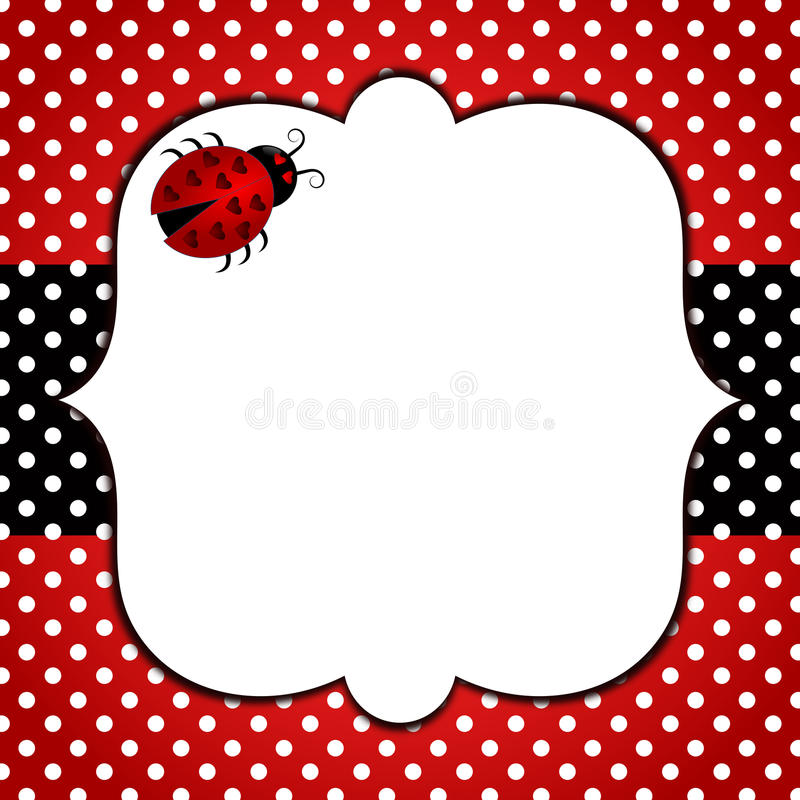 Ladybug polka dots frame royalty free illustration