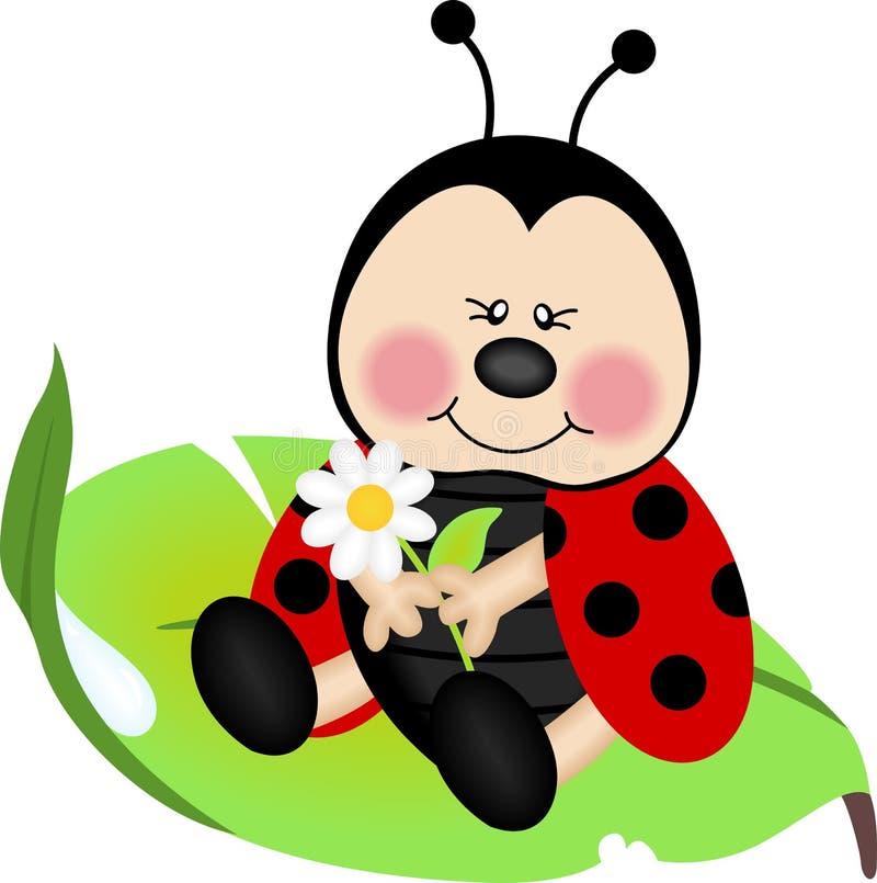 Ladybug que senta-se em uma folha verde ilustração do vetor
