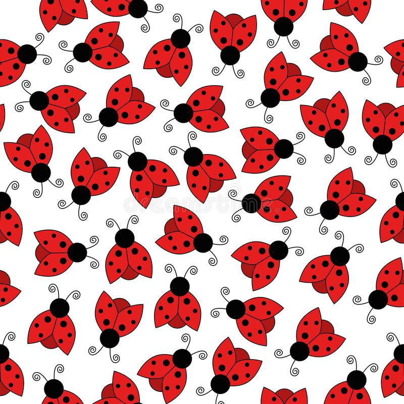 Ladybug seamless pattern art background stock illustration