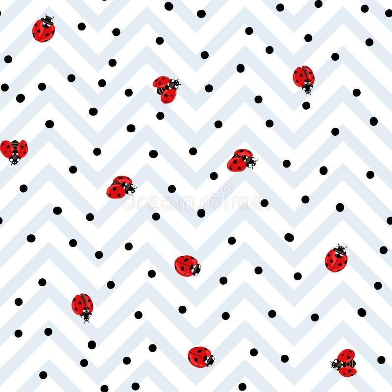 Ladybug seamless pattern, texture background. Ladybug and dots seamless pattern, texture background. Red ladybugs on white and gray zigzag stripes background stock illustration