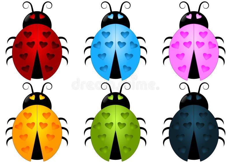 Ladybug set with heart spots royalty free stock photo