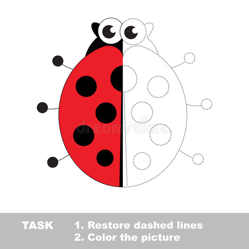 Ladybug to be colored. Vector trace game. Ladybug in vector to be traced. Restore dashed line and color the picture. Visual game for children. Easy educational stock illustration