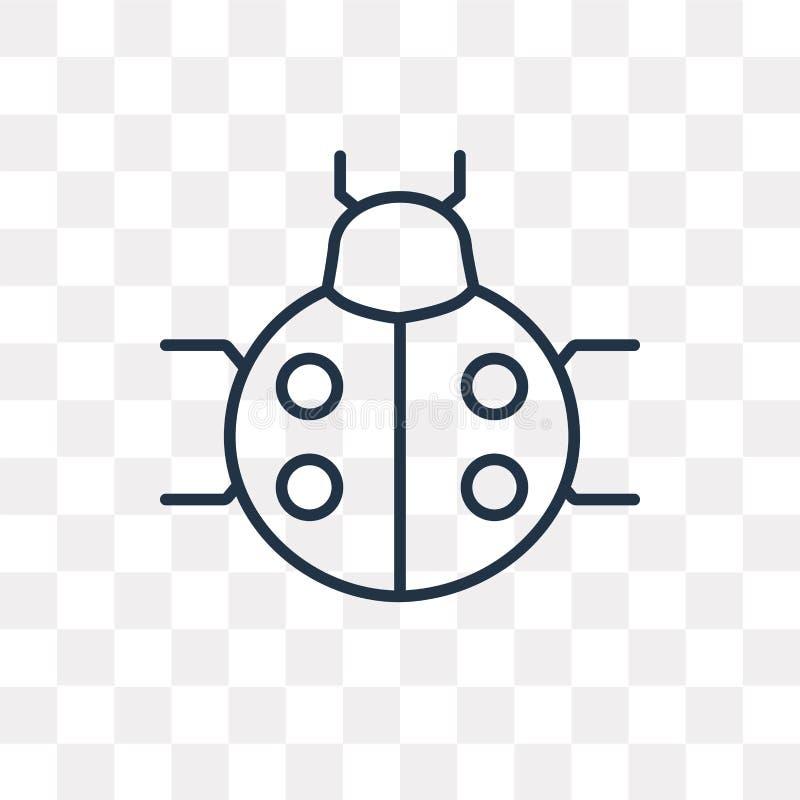 Ladybug vector icon isolated on transparent background, linear L. Ladybug vector outline icon isolated on transparent background, high quality linear Ladybug royalty free illustration