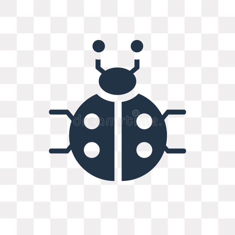 Ladybug vector icon isolated on transparent background, Ladybug. Transparency concept can be used web and mobile, Ladybug icon stock illustration