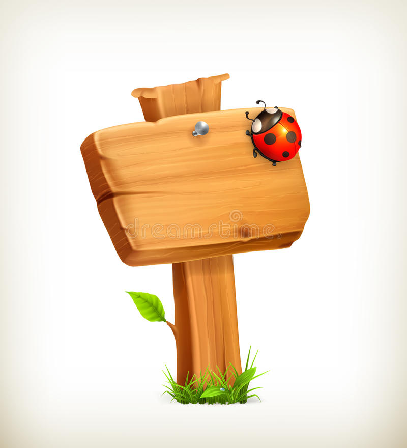 Ladybug on wooden sign vector illustration