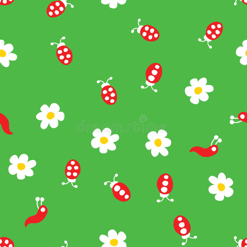 Ladybug worm and flowers seamless pattern. Ladybug, worm and flowers seamless pattern. Cartoon ladybirds on grass green background. Vector illustration stock illustration
