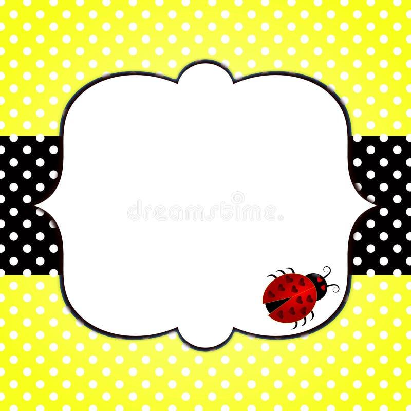 Ladybug on yellow polka dots greeting card stock image