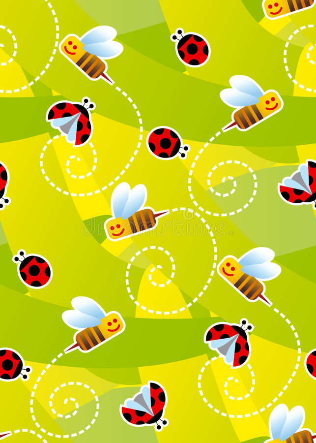 ladybugs пчел делают по образцу безшовное иллюстрация вектора