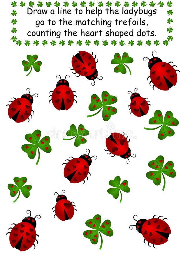 Free Ladybugs And Clovers - Count The Dots Stock Images - 22707014