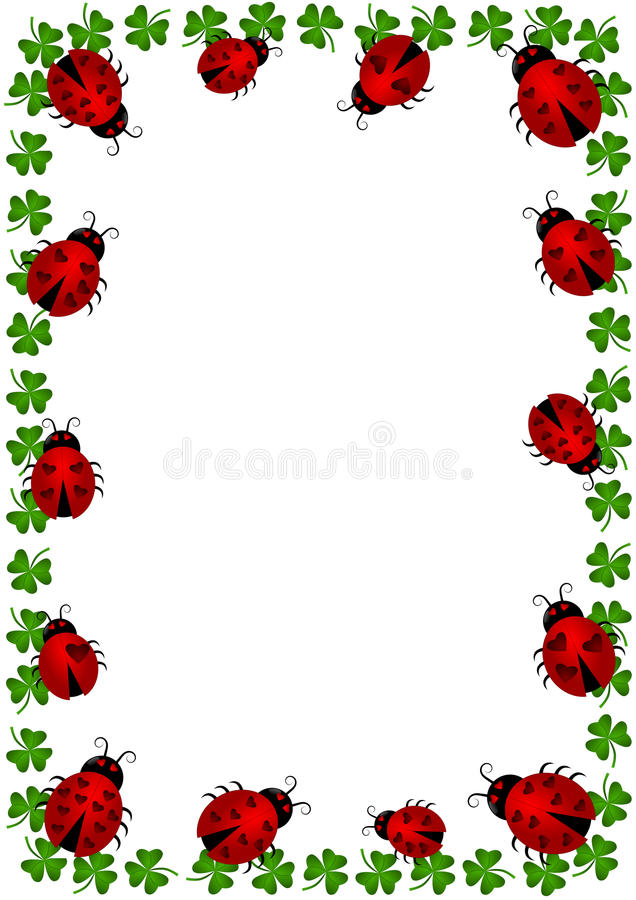 Ladybugs border frame with clovers stock illustration