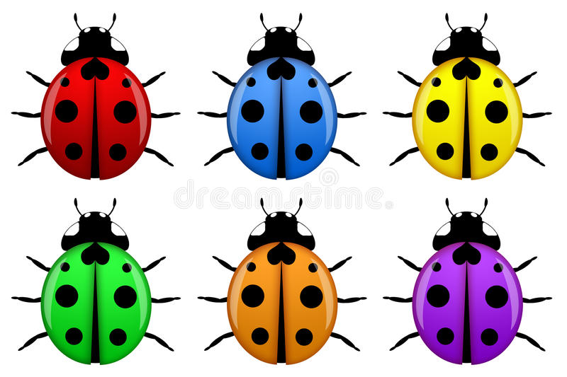 Download Ladybugs In Different Colors Isolated Stock Illustration - Image: 18072177