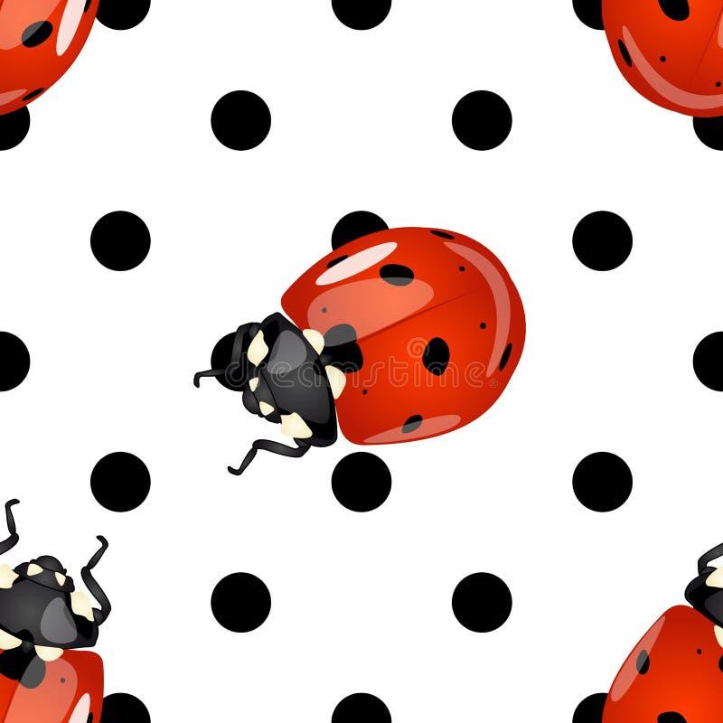 Ladybugs e teste padrão de pontos sem emenda da polca ilustração royalty free