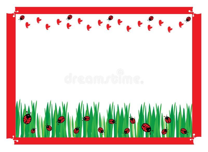 Ladybugs on green field stock illustration