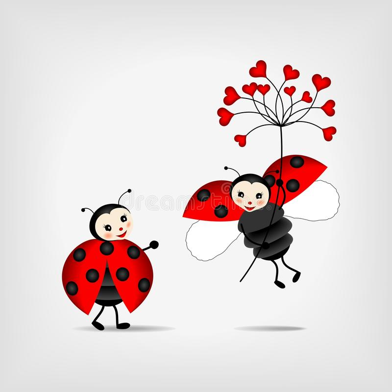 Ladybugs with red flower royalty free illustration
