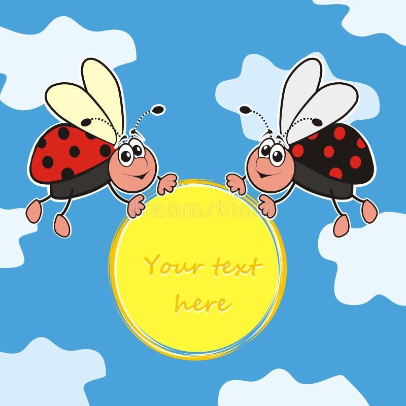 Download Ladybugs stock vector. Image of fauna, spot, happy, postcard - 32039957